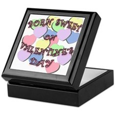 Born on Valentines Day PINK Letters Keepsake Box