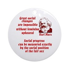 Karl Marx on Women Ornament (Round)