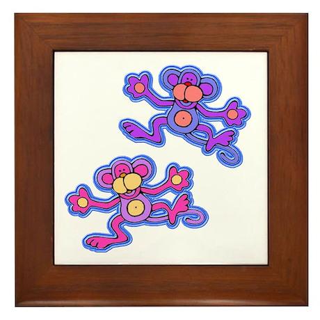 Pink and Purple Monkeys Framed Tile