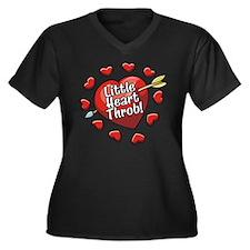 LITTLE HEART THROB! Women's Plus Size V-Neck Dark