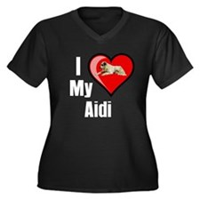 Aidi Women's Plus Size V-Neck Dark T-Shirt
