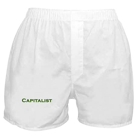 CAPITALIST pro-capitalism green text Boxer Shorts
