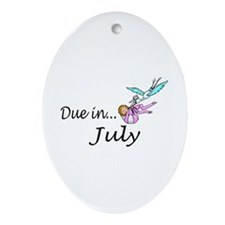 Due In July Oval Ornament