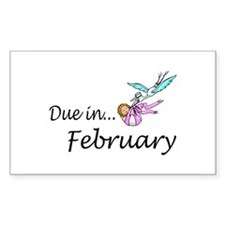 Due In February Rectangle Decal
