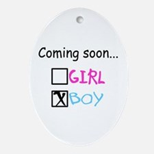 Boy, Coming Soon Oval Ornament