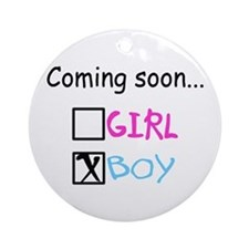Boy, Coming Soon Ornament (Round)