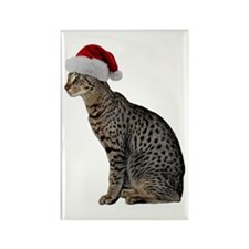 Savannah Cat Christmas Rectangle Magnet