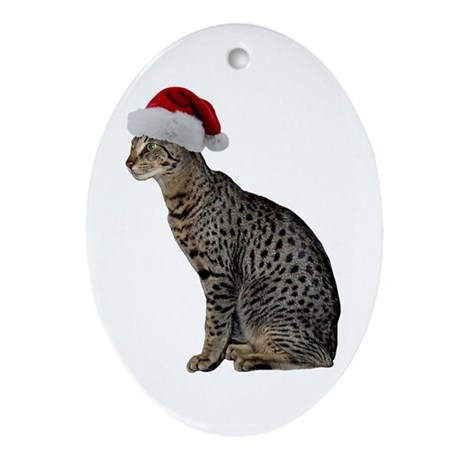 Savannah Cat Christmas Oval Ornament