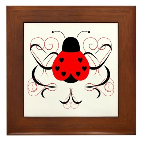 Cute Artsy Heart Ladybug Framed Tile