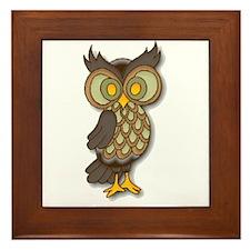 Wide Eyed Owl Framed Tile