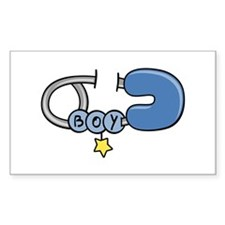 Diaper Pin Boy Rectangle Decal
