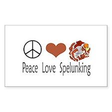 Peace Love Spelunking Rectangle Sticker 10 pk)