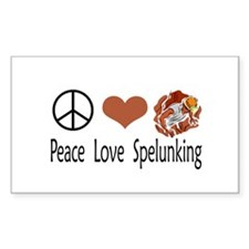 Peace Love Spelunking Rectangle Decal
