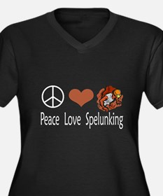 Peace Love Spelunking Women's Plus Size V-Neck Dar