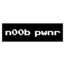 n00b pwnr blk txt Bumper Bumper Sticker