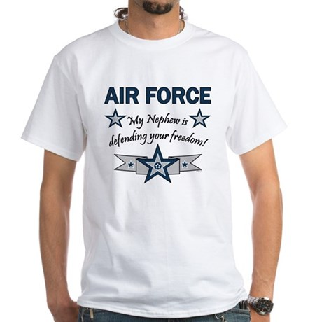 Air Force Nephew Defending White T-Shirt