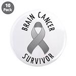 """Brain Cancer Survivor 3.5"""" Button (10 pack)"""