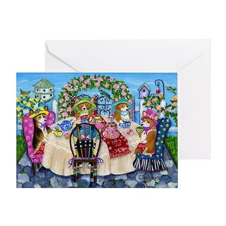Corgi Tea In The Rose Garden Greeting Card