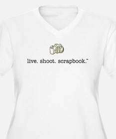 live. shoot. scrapbook. - Ladies Plus Size V-Neck