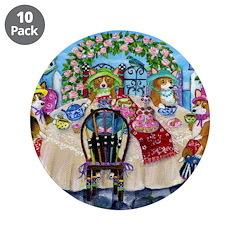 """Corgi Tea In The Rose Garden 3.5"""" Button (10"""