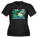 Little Girl Women's Plus Size V-Neck Dark T-Shirt