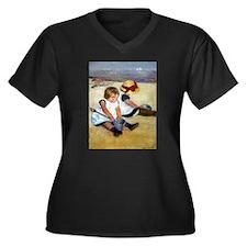 Children Women's Plus Size V-Neck Dark T-Shirt