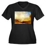 Distant Women's Plus Size V-Neck Dark T-Shirt