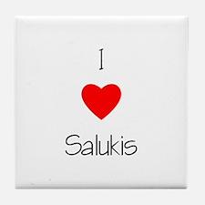 I Love Salukis Tile Coaster