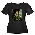 Lezcano Women's Plus Size Scoop Neck Dark T-Shirt