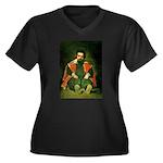 Sdemorra Women's Plus Size V-Neck Dark T-Shirt