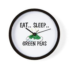 Eat ... Sleep ... GREEN PEAS Wall Clock