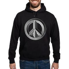 Silver Peace Sign Hoodie (dark)