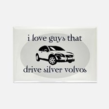 Silver Volvo Drivers Rectangle Magnet