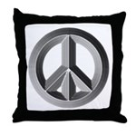 Silver Peace Sign Throw Pillow