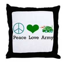Peace Love Army Throw Pillow