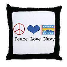 Peace Love Navy Throw Pillow