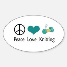Peace Love Knitting Oval Decal