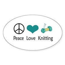 Peace Love Knitting Oval Stickers