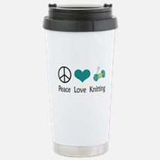 Peace Love Knitting Travel Mug