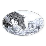 Cutting Horse Oval Sticker (10 pk)