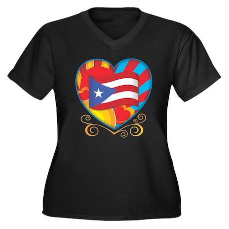 puerto rican Women's Plus Size V-Neck Dark T-Shirt