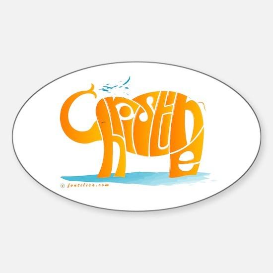 Christine (Orange Elephant 2) Oval Decal