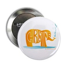 "Christine (Orange Elephant 1) 2.25"" Button"