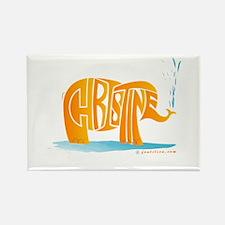 Christine (Orange Elephant 1) Rectangle Magnet