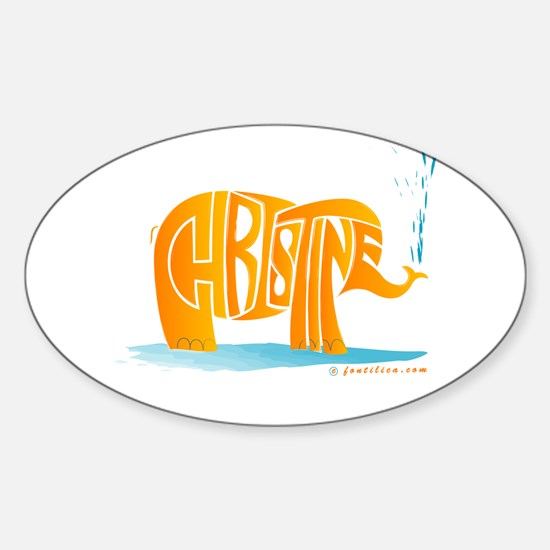 Christine (Orange Elephant 1) Oval Decal