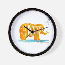 Christine (Orange Elephant 1) Wall Clock