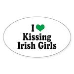 Kissing Irish Girls Oval Sticker (10 pk)