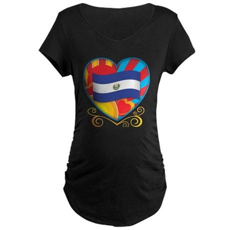 Salvadoran Heart Maternity Dark T-Shirt