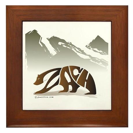 Zach (Brown Bear in Mountains) Framed Tile
