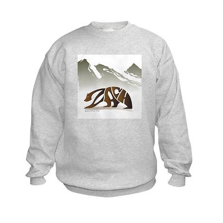 Zach (Brown Bear in Mountains) Kids Sweatshirt